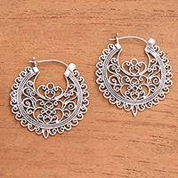 Sterling silver hoop earrings, 'Wrought Beauty' - Openwork Sterling Silver Hoop Earrings from Bali