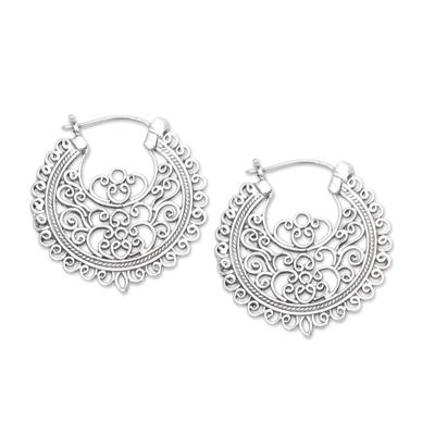 Openwork Sterling Silver Hoop Earrings from Bali