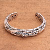 Garnet cuff, 'Bali Bamboo' - Sterling Silver and Garnet Bali Bamboo Cuff Bracelet