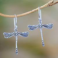Sterling silver dangle earrings, 'Elegance of the Dragonflies' - Handcrafted Sterling Silver Dragonfly Wings Dangle Earrings