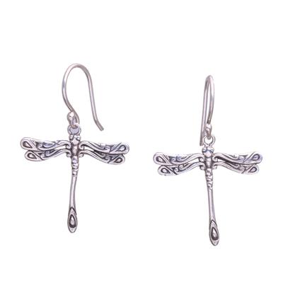 Sterling silver dangle earrings, 'Elegance of the Dragonflies' - Handcrafted Sterling Silver Dragonfly Wings Dangle Earrings
