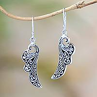 Sterling silver dangle earrings, 'Balinese Angel Wings' - Handcrafted Sterling Silver Flower Wings Dangle Earrings