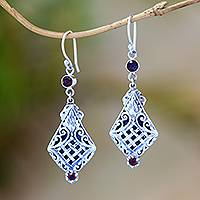 Garnet dangle earrings, 'Ketupat Crest' - Sterling Silver and Garnet Dangle Earrings Crafted in Bali