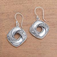 Sterling silver dangle earrings, 'Songket Twist' - Songket Motif Sterling Silver Dangle Earrings from Bali