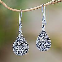 Sterling silver dangle earrings, 'Rain Blossoms' - Sterling Silver Scroll Work Raindrop Dangle Earrings