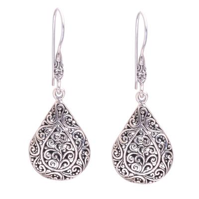 Sterling silver dangle earrings, 'Rain Blossoms' - Sterling Silver Scroll Work Raindrop Dangle Earrings