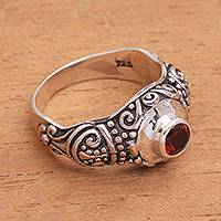 Garnet cocktail ring, 'Swirling Royalty' - Ornate Sterling Silver and Red Garnet Cocktail Ring