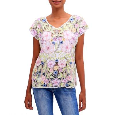 Rayon blouse, 'Springtime Mallow' - Colorful Floral Embroidered Rayon Blouse from Bali