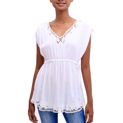 Rayon blouse, 'Floral Flirt in White' - Floral Embroidered Rayon Blouse in White from Bali