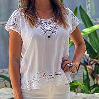 Rayon blouse, 'White Kusuma' - Floral Embroidered Rayon Blouse in White from Bali