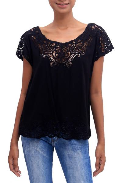 Rayon blouse, 'Onyx Kusuma' - Floral Embroidered Rayon Blouse in Onyx from Bali