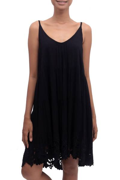 Rayon sundress, 'Onyx Dewi' - Embroidered Rayon Sundress in Onyx from Bali