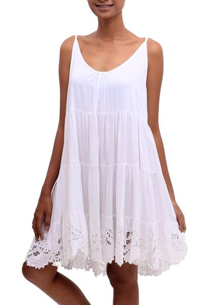 Rayon sundress, 'Snow White Dewi' - Embroidered Rayon Sundress in Snow White from Bali