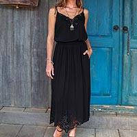 Rayon midi skirt, 'Juwita Style' - Hand-Embroidered Rayon Midi Skirt in Onyx from Bali