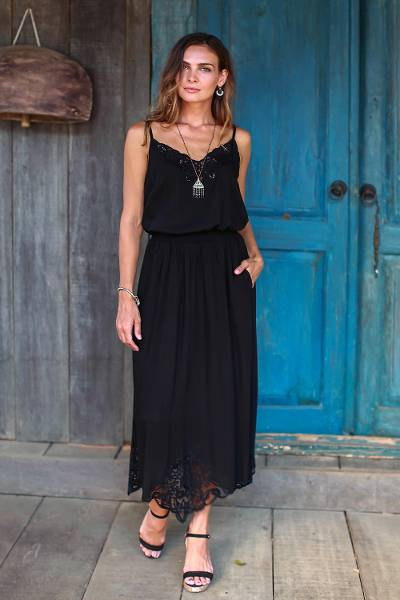 Rayon midi skirt, 'Juwita Style' - Embroidered Rayon Midi Skirt in Onyx from Bali