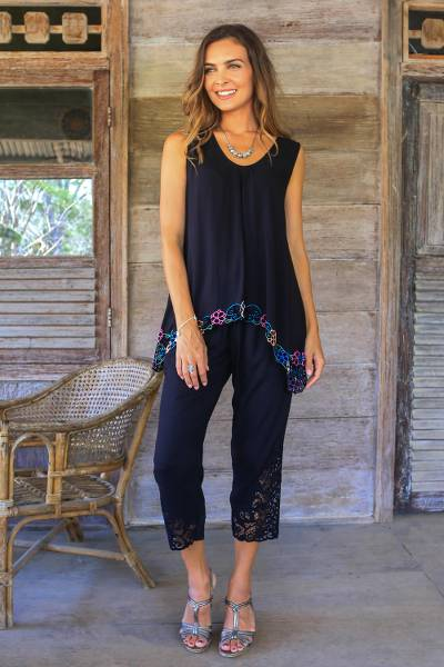 Rayon pants, 'Onyx Padma Flower' - Floral Embroidered Rayon Pants in Onyx from Bali