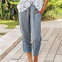 Rayon pants, 'Padma Flower' - Floral Embroidered Rayon Pants in Smoke from Bali