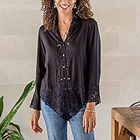 Rayon kebaya blouse, 'Onyx Bidadari' - Embroidered Rayon Kebaya Blouse in Onyx from Bali