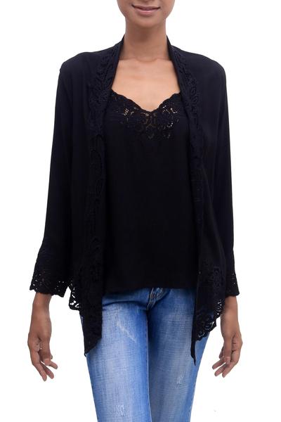 Rayon kebaya blouse, 'Onyx Bidadari' - Embroidered Rayon Kebaya Blouse in Onyx from Bali