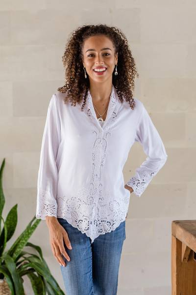 Rayon kebaya blouse, 'Snow White Bidadari' - Embroidered Rayon Kebaya Blouse in Snow White from Bali