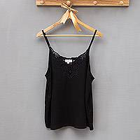 Rayon tank top, 'Onyx Kerawang' - Floral Embroidered Rayon Tank Top in Onyx from Bali