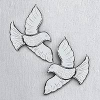 Glass wall mirrors, 'Reflective Doves' (pair) - Glass Dove Wall Mirrors from Java (Pair)