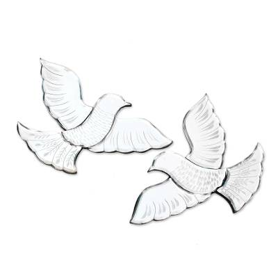 Glass Dove Decorative Wall Mirrors from Java (Pair)