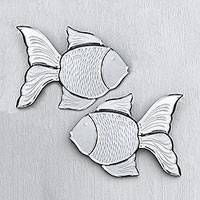 Glass wall mirrors, 'Reflective Goldfish' (pair) - Glass Goldfish Wall Mirrors from Java (Pair)