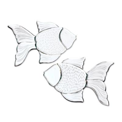 Glass Goldfish Decorative Wall Mirrors from Java (Pair)
