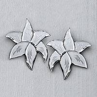 Glass wall mirrors, 'Leafy Reflection' (pair) - Leaf Motif Glass Wall Mirrors from Java (Pair)