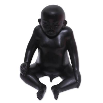 Wood sculpture, 'Sakah Baby' - Hand-Carved Wood Baby Sculpture Crafted in Indonesia