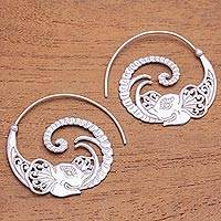 Sterling silver half-hoop earrings, 'Elephant Tendril' - Sterling Silver Elephant Half-Hoop Earrings from Thailand