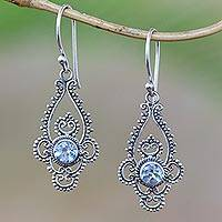 Blue topaz dangle earrings, 'Elegant Evening in Blue' - Blue Topaz Sterling Silver Dot and Scroll Dangle Earrings