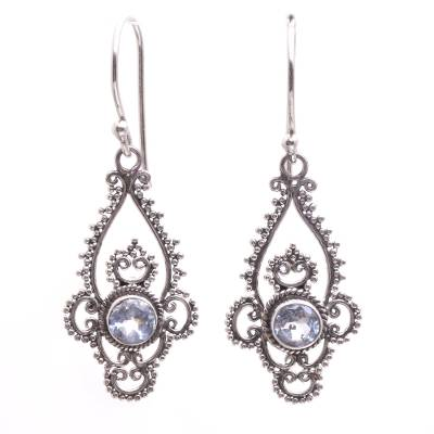 Blue Topaz Sterling Silver Dot and Scroll Dangle Earrings