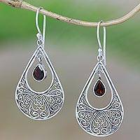 Garnet dangle earrings, 'Brimming with Elegance' - Garnet Sterling Silver Scrollwork Teardrop Dangle Earrings