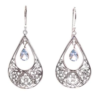 Blue Topaz Sterling Silver Scrolls Teardrop Dangle Earrings