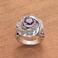Amethyst cocktail ring, 'Cradled in Nature' - Amethyst and Sterling Silver Nest of Leaves Cocktail Ring