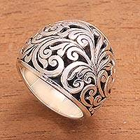 Sterling silver domed ring, 'Sunda Forest' - Handcrafted Sterling Silver Swirling Vine Forest Domed Ring