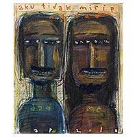 'Me and My Dad Are Not the Same' - Signed Modern Father and Son Painting from Bali