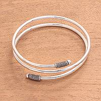Sterling silver wrap bracelet, 'Delightful Wrap' - Sterling Silver Wrap Bracelet Crafted in Java