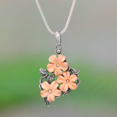 Floral Sterling Silver And Bone Pendant Necklace From Java