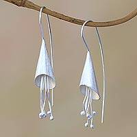 Sterling silver drop earrings, 'Flower Cones' - Conical Sterling Silver Drop Earrings from Bali