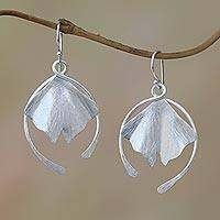 Sterling silver dangle earrings, 'Flying Petals' - Flower Petal Sterling Silver Dangle Earrings from Bali