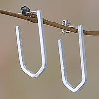 Sterling silver drop earrings, 'Geometric Couple' - Geometric Sterling Silver Drop Earrings from Bali