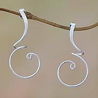 Sterling silver drop earrings, 'Modern Tendrils' - Modern Sterling Silver Drop Earrings from Bali