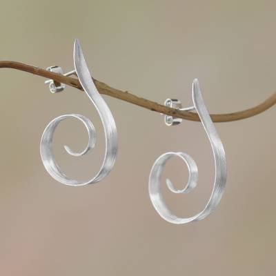 Sterling silver half-hoop earrings, Light My Fire