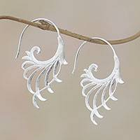 Sterling silver half-hoop earrings, 'Flying Wings' - Openwork Sterling Silver Half-Hoop Earrings from Bali
