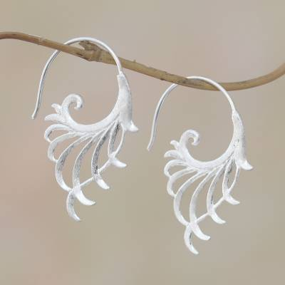 Sterling silver half-hoop earrings, Flying Wings