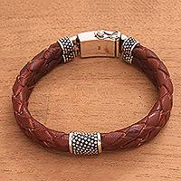 Men's leather braided wristband bracelet, 'Temple Waterfall' - Men's Brown Leather Braided Double Wristband Bracelet
