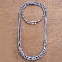 Sterling silver chain necklace, 'Sanca Snake' - Sterling Silver Naga Chain Necklace from Bali